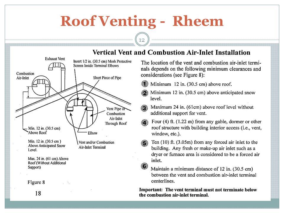 Roof Venting - Rheem 12