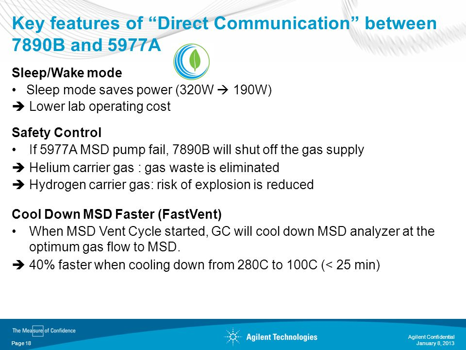 Key features of Direct Communication between 7890B and 5977A Agilent Confidential Page 18 Sleep/Wake mode Sleep mode saves power (320W 190W) Lower lab
