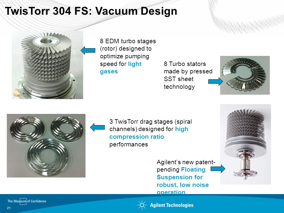 21 TwisTorr 304 FS: Vacuum Design 8 EDM turbo stages (rotor) designed to optimize pumping speed for light gases 8 Turbo stators made by pressed SST sh