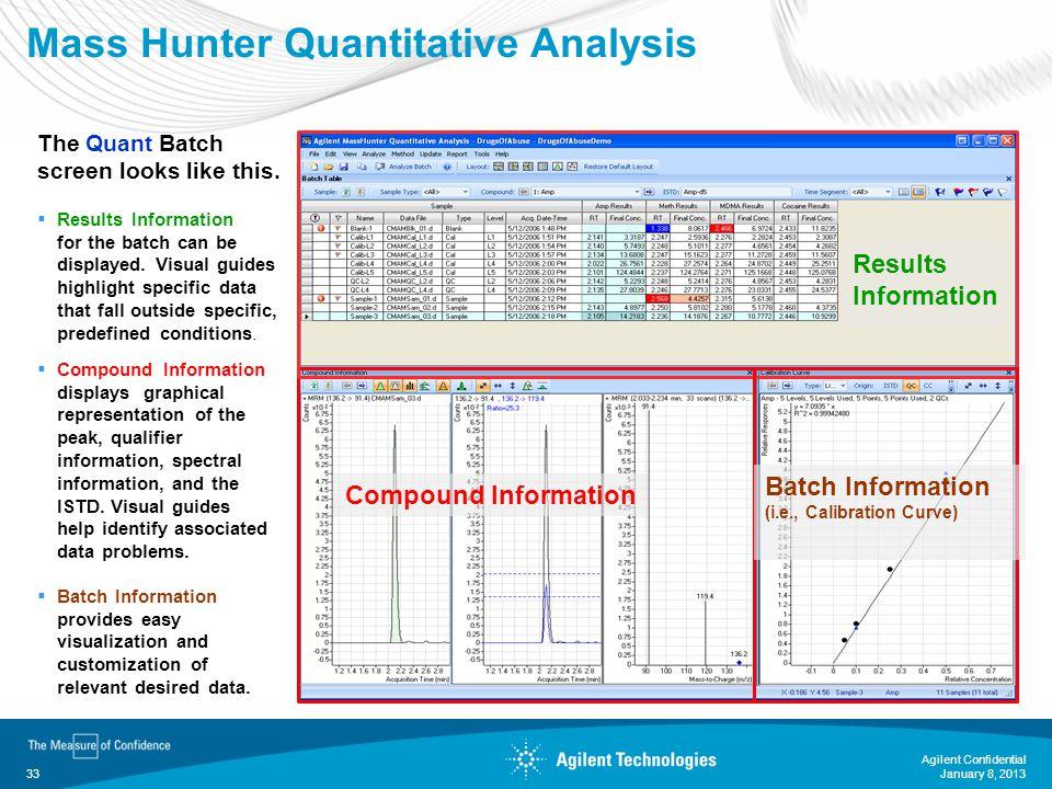 January 8, 2013 Agilent Confidential 33 Mass Hunter Quantitative Analysis Compound Information Results Information Batch Information (i.e., Calibratio
