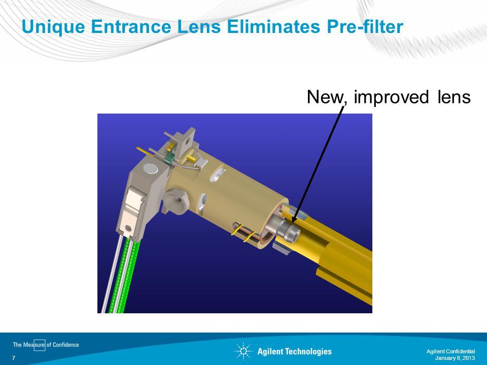 January 8, 2013 Agilent Confidential 7 Unique Entrance Lens Eliminates Pre-filter New, improved lens