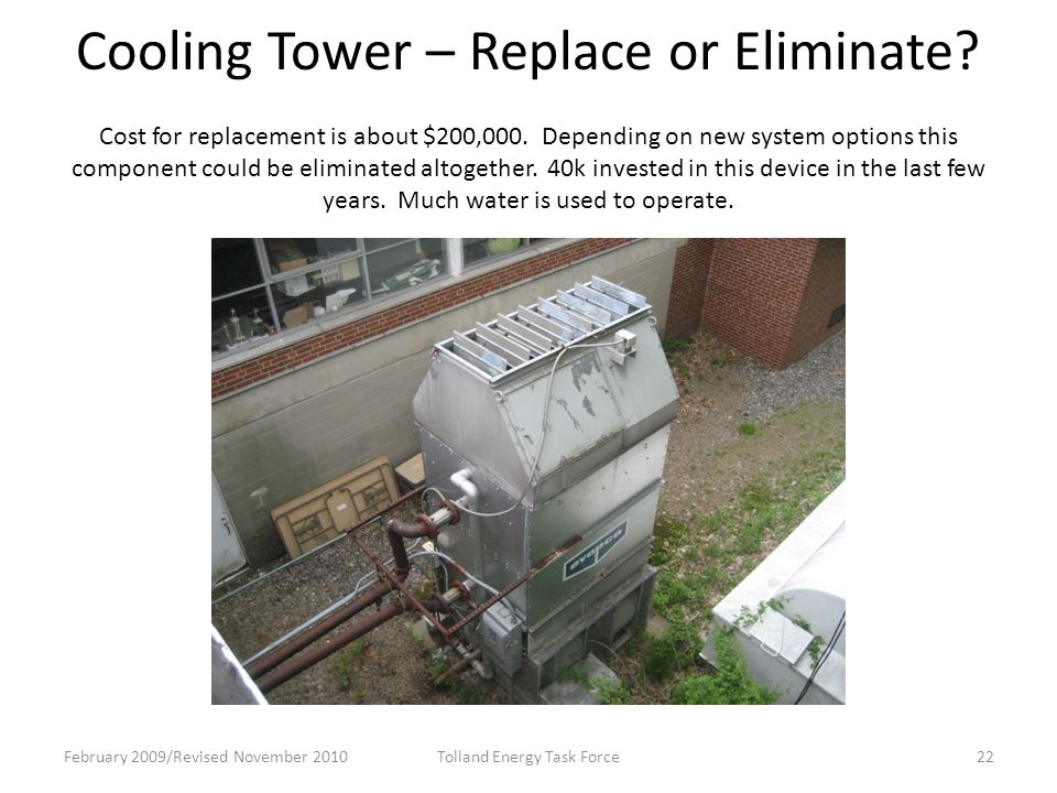 Cooling Tower – Replace or Eliminate.Cost for replacement is about $200,000.