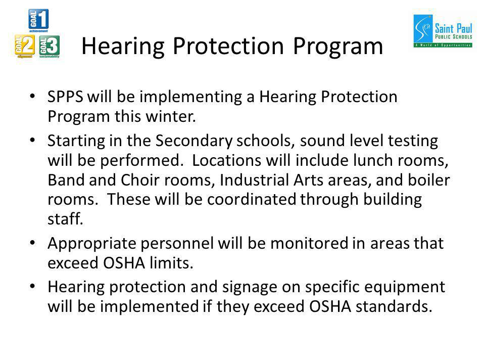Hearing Protection Program SPPS will be implementing a Hearing Protection Program this winter. Starting in the Secondary schools, sound level testing