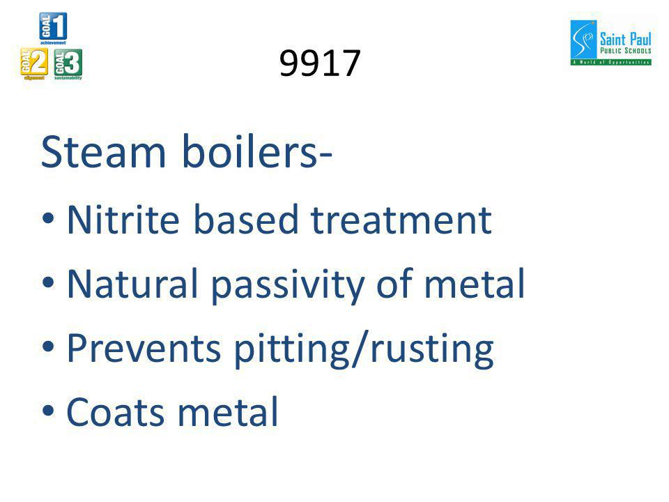 Steam boilers- Nitrite based treatment Natural passivity of metal Prevents pitting/rusting Coats metal 9917