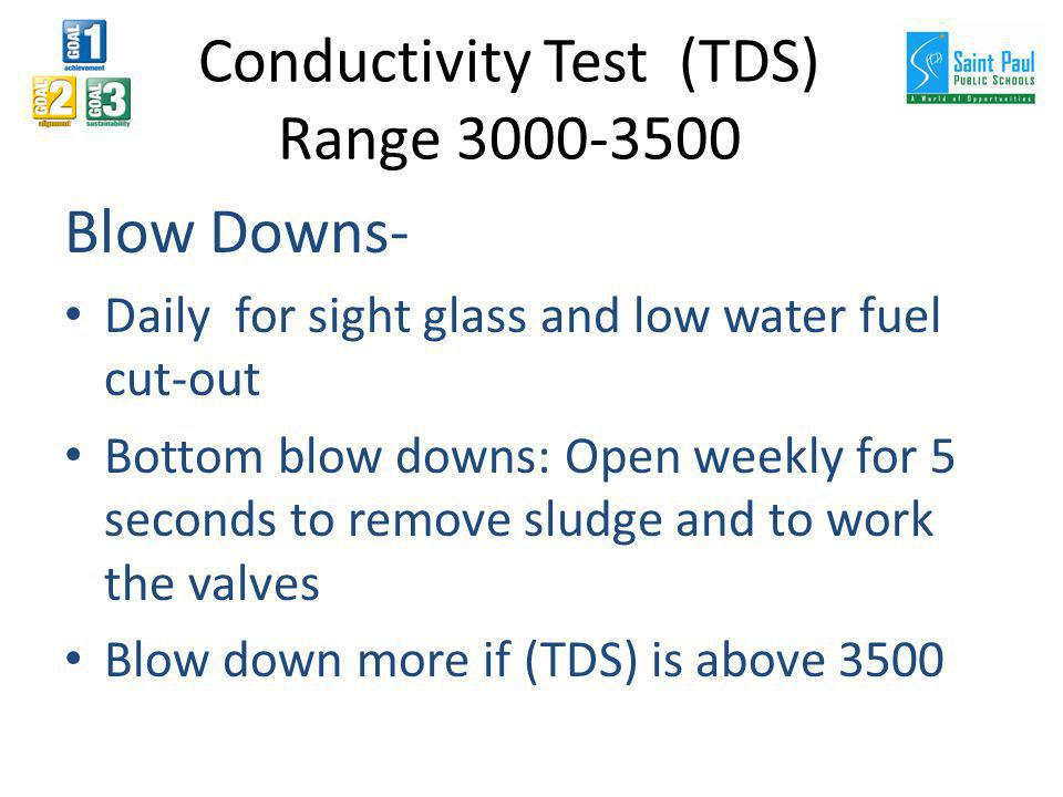 Conductivity Test (TDS) Range 3000-3500 Blow Downs- Daily for sight glass and low water fuel cut-out Bottom blow downs: Open weekly for 5 seconds to remove sludge and to work the valves Blow down more if (TDS) is above 3500