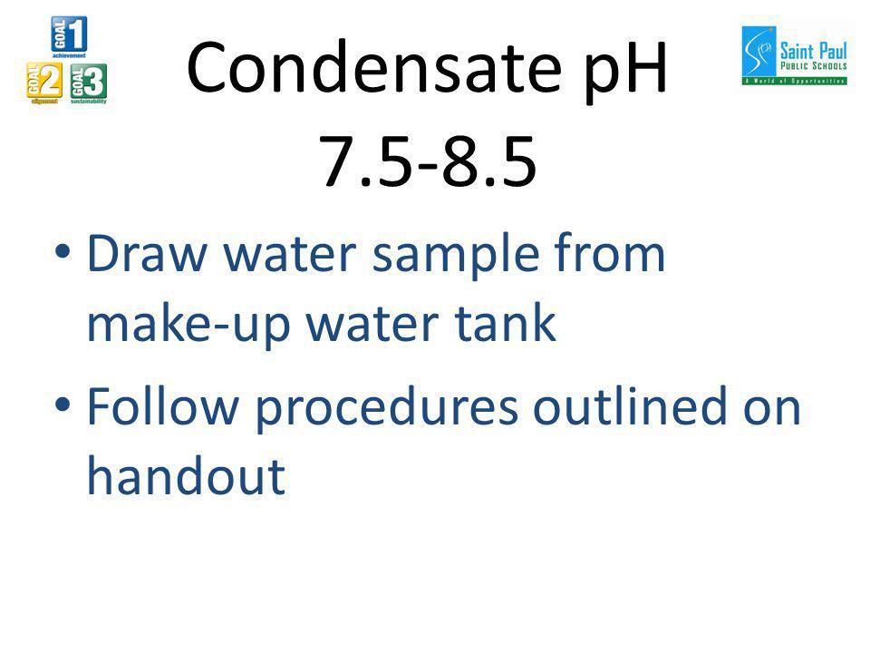 Draw water sample from make-up water tank Follow procedures outlined on handout Condensate pH