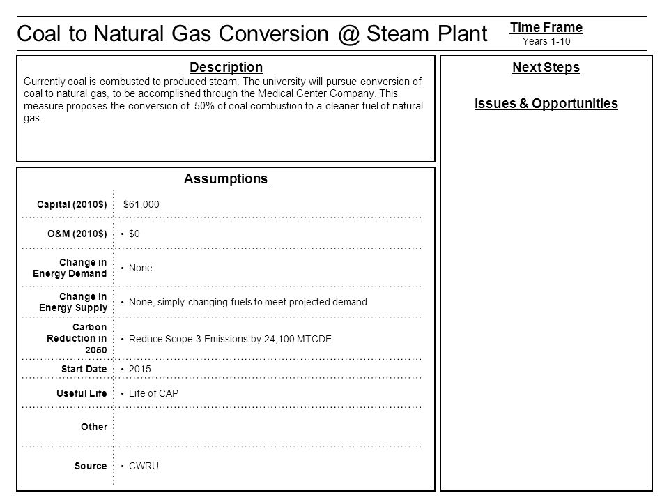 Coal to Natural Gas Steam Plant Description Currently coal is combusted to produced steam.