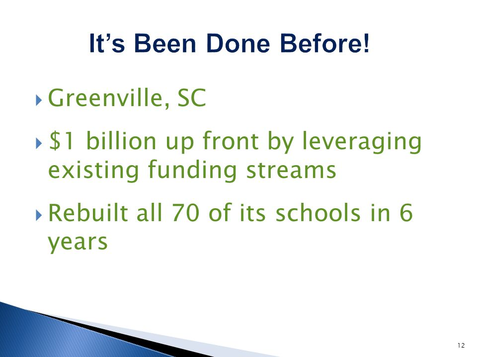 Greenville, SC $1 billion up front by leveraging existing funding streams Rebuilt all 70 of its schools in 6 years 12