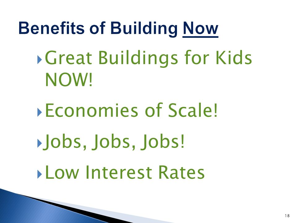Great Buildings for Kids NOW! Economies of Scale! Jobs, Jobs, Jobs! Low Interest Rates 18