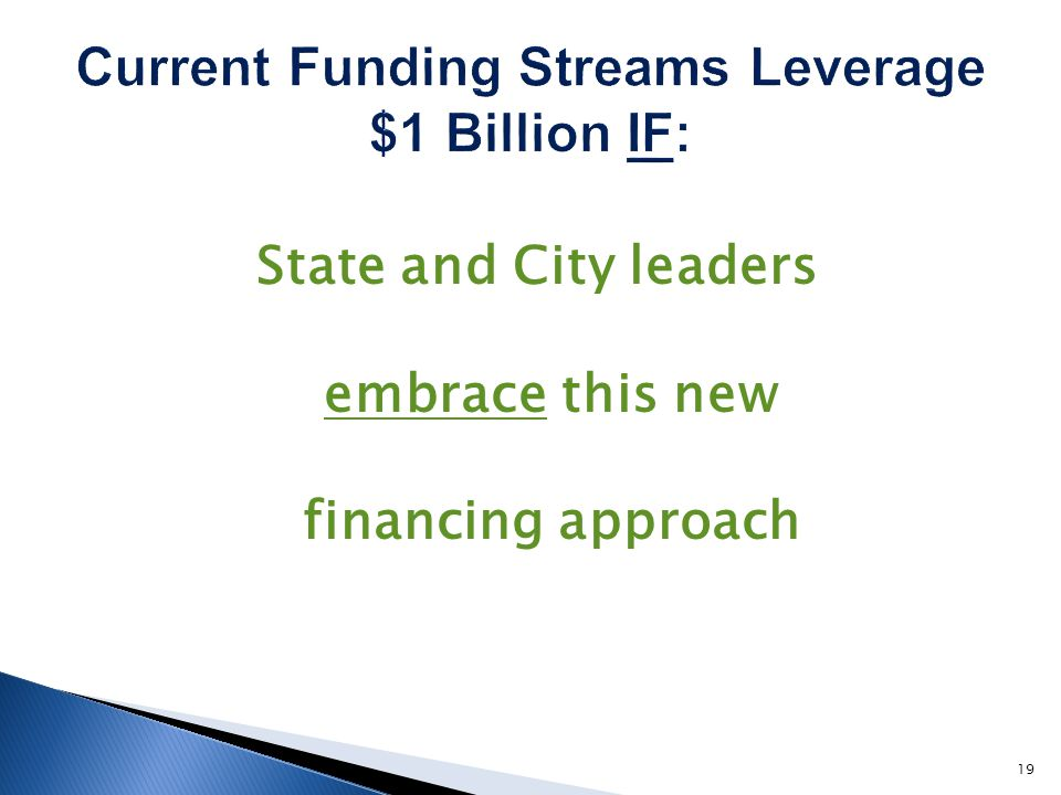 State and City leaders embrace this new financing approach 19