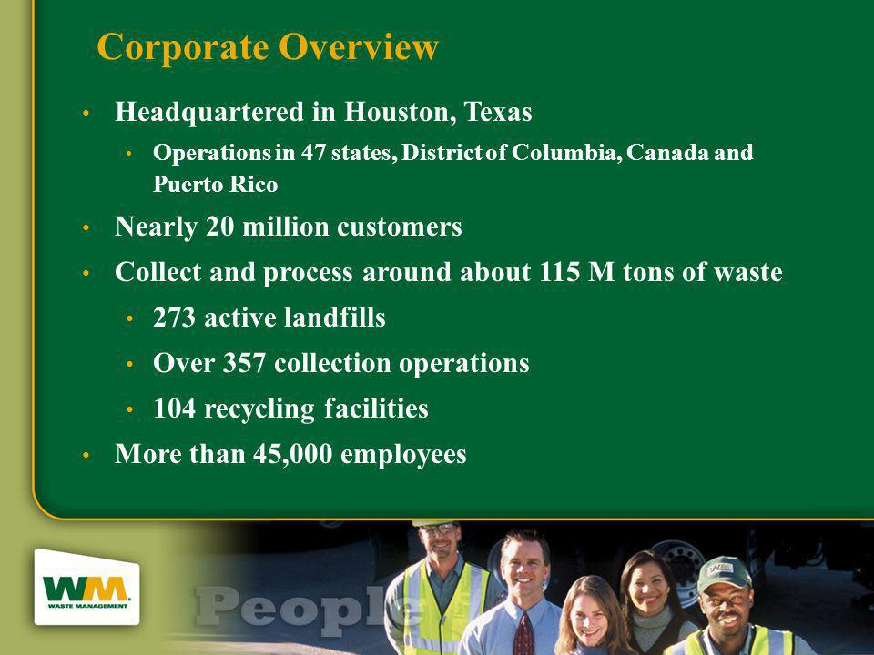 Waste Management Business Model Currently own 47 power plants Currently own 47 power plants Capital is provided internally for projects meeting minimum Internal Rate of Return: add 8 – 12 projects per year Capital is provided internally for projects meeting minimum Internal Rate of Return: add 8 – 12 projects per year Corporate Renewable Energy Group (WMRE) performs centralized management for all projects: Corporate Renewable Energy Group (WMRE) performs centralized management for all projects: Design, construction, and commissioning Design, construction, and commissioning Plant operations Plant operations Accounting and finance Accounting and finance Energy marketing Energy marketing Landfill business unit supports the plant with backup operators, compliance management, community relations WMRE business unit pays the landfill business unit for the landfill gas used at the plant WMRE business unit pays the landfill business unit for the landfill gas used at the plant WMI has appetite for all of the tax credits WMI has appetite for all of the tax credits