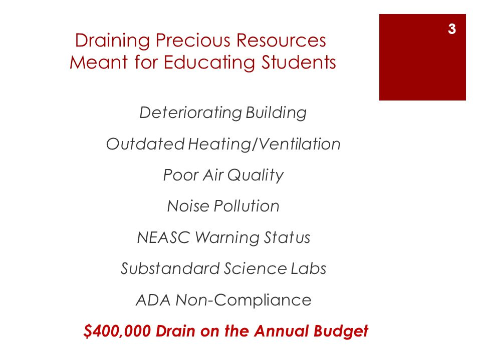 Draining Precious Resources Meant for Educating Students Deteriorating Building Outdated Heating/Ventilation Poor Air Quality Noise Pollution NEASC Warning Status Substandard Science Labs ADA Non-Compliance $400,000 Drain on the Annual Budget 3