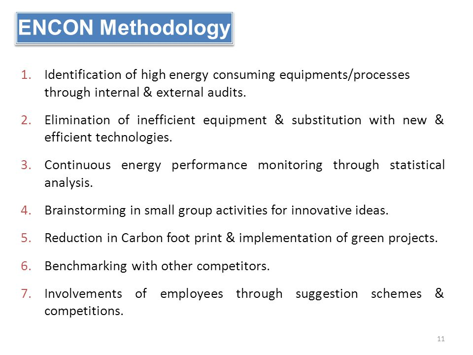ENCON Methodology 1.Identification of high energy consuming equipments/processes through internal & external audits. 2.Elimination of inefficient equi