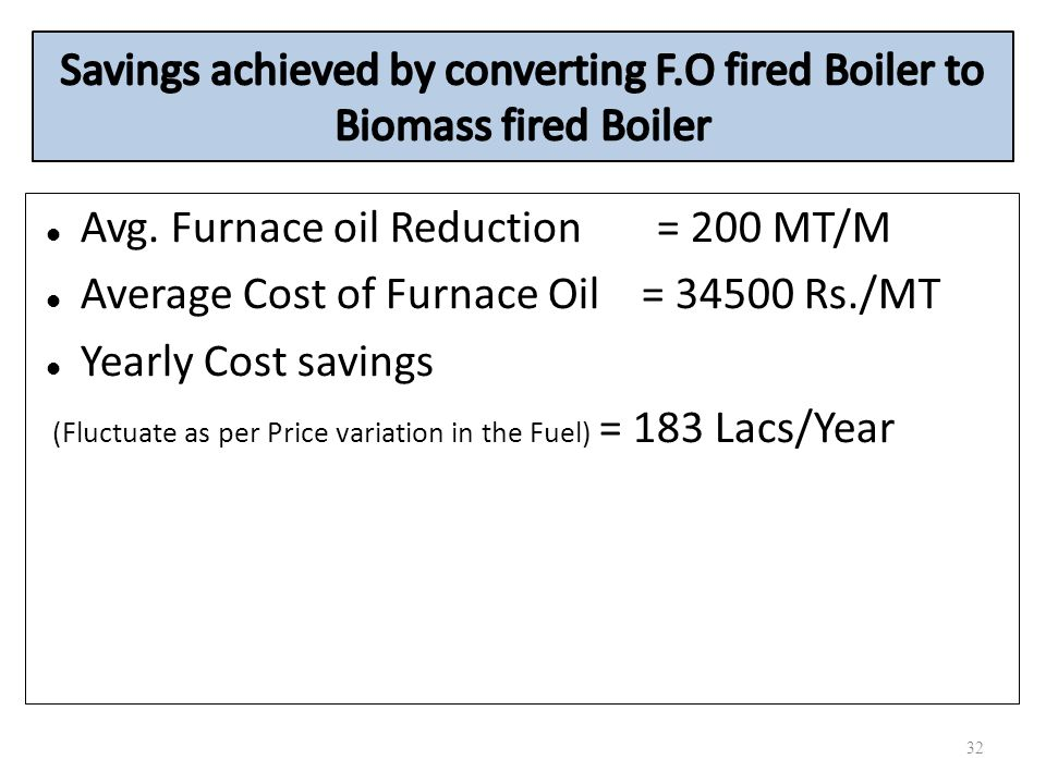 Avg. Furnace oil Reduction = 200 MT/M Average Cost of Furnace Oil = 34500 Rs./MT Yearly Cost savings (Fluctuate as per Price variation in the Fuel) =
