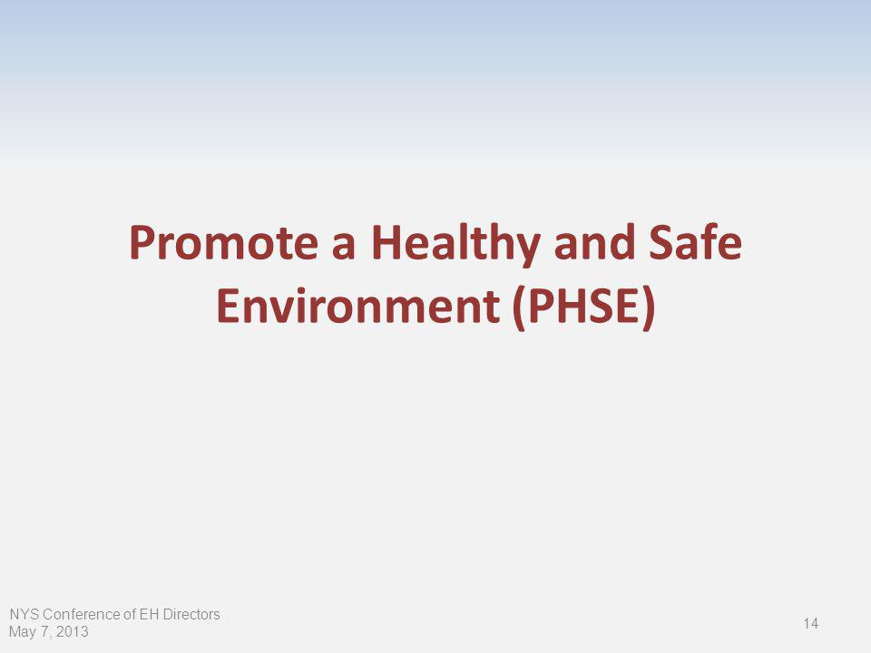 Promote a Healthy and Safe Environment (PHSE) 14 NYS Conference of EH Directors May 7, 2013