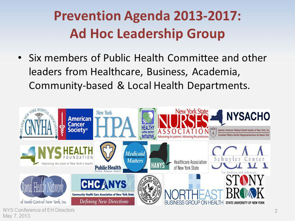Prevention Agenda : Ad Hoc Leadership Group Six members of Public Health Committee and other leaders from Healthcare, Business, Academia, Community-based & Local Health Departments.