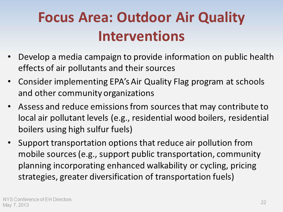 Focus Area: Outdoor Air Quality Interventions Develop a media campaign to provide information on public health effects of air pollutants and their sources Consider implementing EPAs Air Quality Flag program at schools and other community organizations Assess and reduce emissions from sources that may contribute to local air pollutant levels (e.g., residential wood boilers, residential boilers using high sulfur fuels) Support transportation options that reduce air pollution from mobile sources (e.g., support public transportation, community planning incorporating enhanced walkability or cycling, pricing strategies, greater diversification of transportation fuels) NYS Conference of EH Directors May 7,