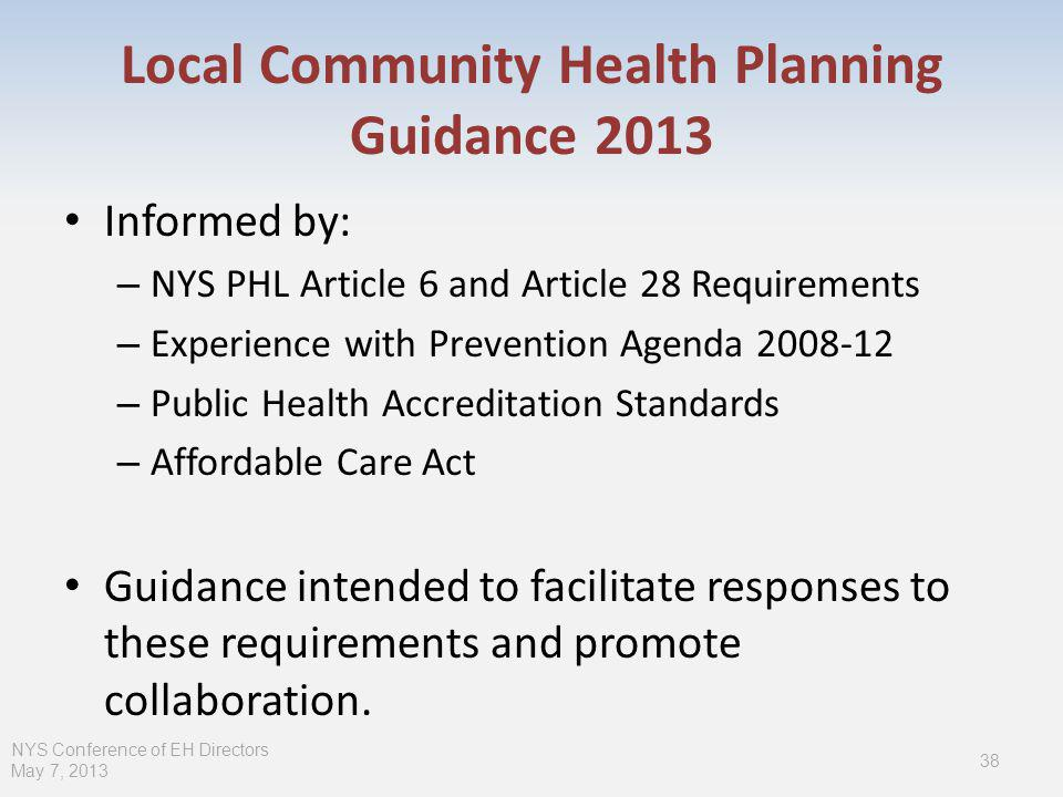 Local Community Health Planning Guidance 2013 Informed by: – NYS PHL Article 6 and Article 28 Requirements – Experience with Prevention Agenda 2008-12