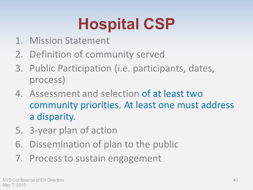 Hospital CSP NYS Conference of EH Directors May 7, Mission Statement 2.Definition of community served 3.Public Participation (i.e.