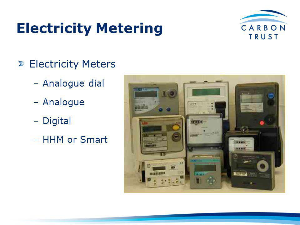 Electricity Metering Electricity Meters –Analogue dial –Analogue –Digital –HHM or Smart