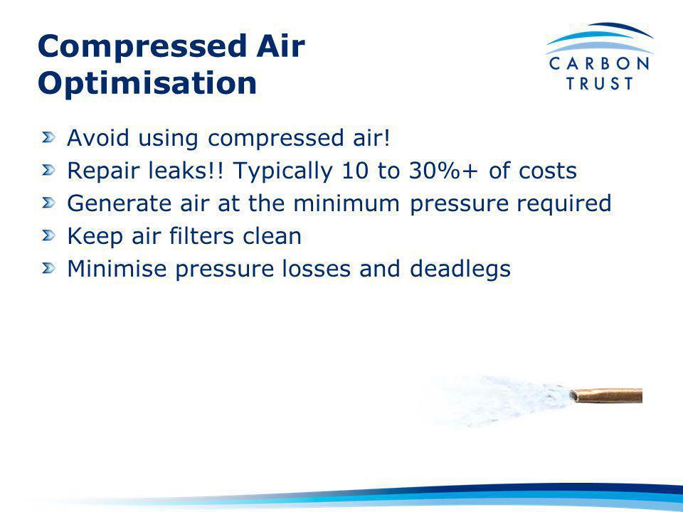Compressed Air Optimisation Avoid using compressed air.