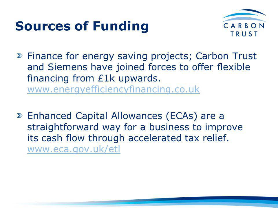 Sources of Funding Finance for energy saving projects; Carbon Trust and Siemens have joined forces to offer flexible financing from £1k upwards.