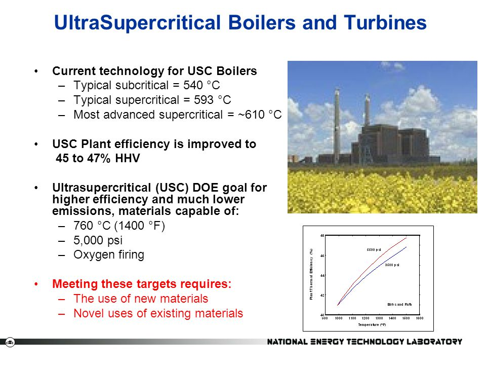 11 UltraSupercritical Boilers and Turbines Current technology for USC Boilers –Typical subcritical = 540 °C –Typical supercritical = 593 °C –Most adva