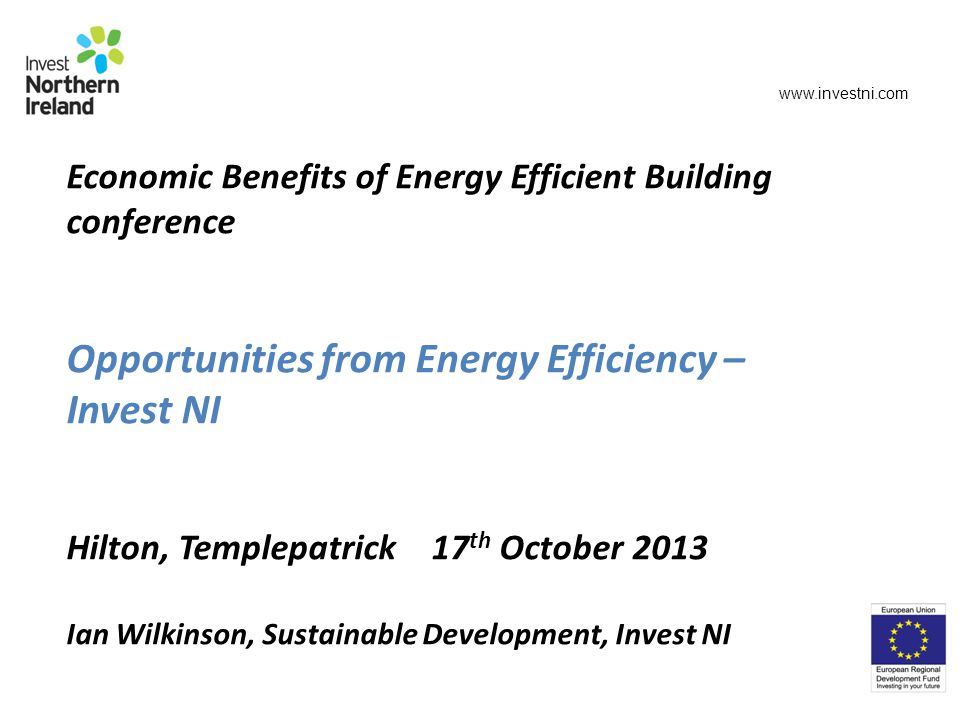 Economic Benefits of Energy Efficient Building conference Opportunities from Energy Efficiency – Invest NI Hilton, Templepatrick 17 th October 2013 Ian Wilkinson, Sustainable Development, Invest NI www.investni.com