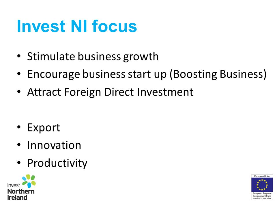 Invest NI focus Stimulate business growth Encourage business start up (Boosting Business) Attract Foreign Direct Investment Export Innovation Productivity