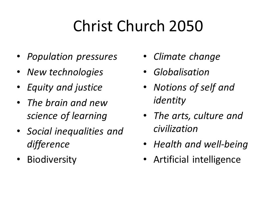 Christ Church 2050 Population pressures New technologies Equity and justice The brain and new science of learning Social inequalities and difference Biodiversity Climate change Globalisation Notions of self and identity The arts, culture and civilization Health and well-being Artificial intelligence