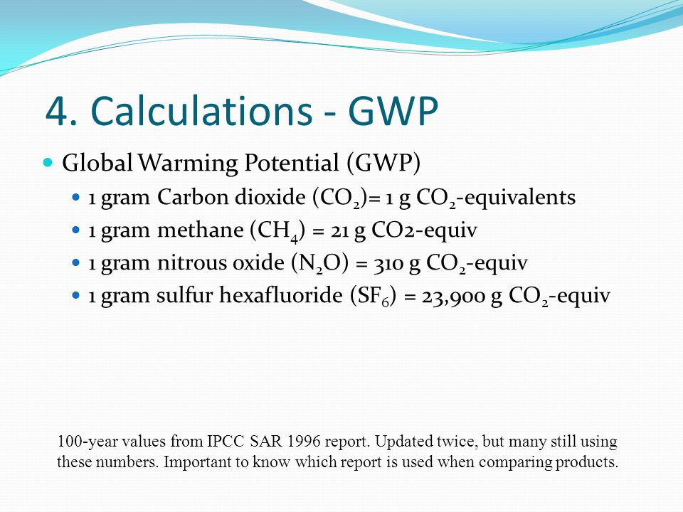 4. Calculations - GWP Global Warming Potential (GWP) 1 gram Carbon dioxide (CO 2 )= 1 g CO 2 -equivalents 1 gram methane (CH 4 ) = 21 g CO2-equiv 1 gr