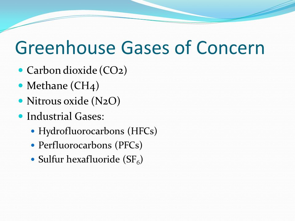 Greenhouse Gases of Concern Carbon dioxide (CO2) Methane (CH4) Nitrous oxide (N2O) Industrial Gases: Hydrofluorocarbons (HFCs) Perfluorocarbons (PFCs) Sulfur hexafluoride (SF 6 )