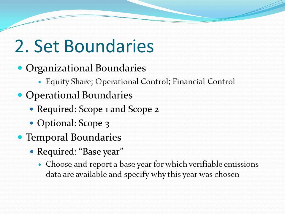 2. Set Boundaries Organizational Boundaries Equity Share; Operational Control; Financial Control Operational Boundaries Required: Scope 1 and Scope 2