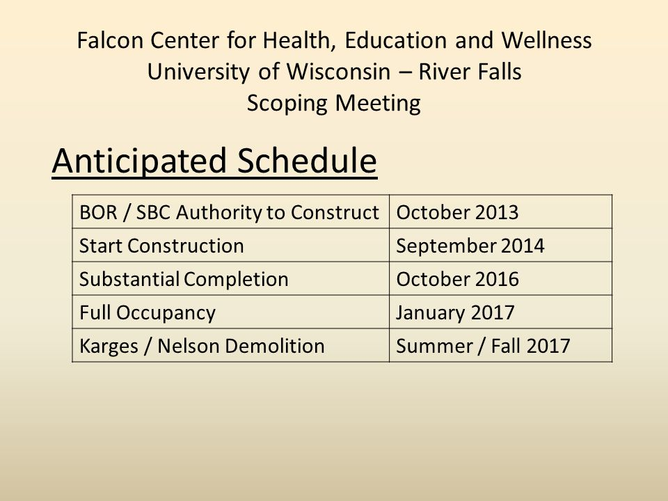 Falcon Center for Health, Education and Wellness University of Wisconsin – River Falls Scoping Meeting Anticipated Schedule BOR / SBC Authority to ConstructOctober 2013 Start ConstructionSeptember 2014 Substantial CompletionOctober 2016 Full OccupancyJanuary 2017 Karges / Nelson DemolitionSummer / Fall 2017
