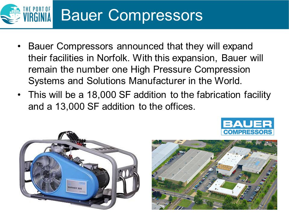 Bauer Compressors Bauer Compressors announced that they will expand their facilities in Norfolk.