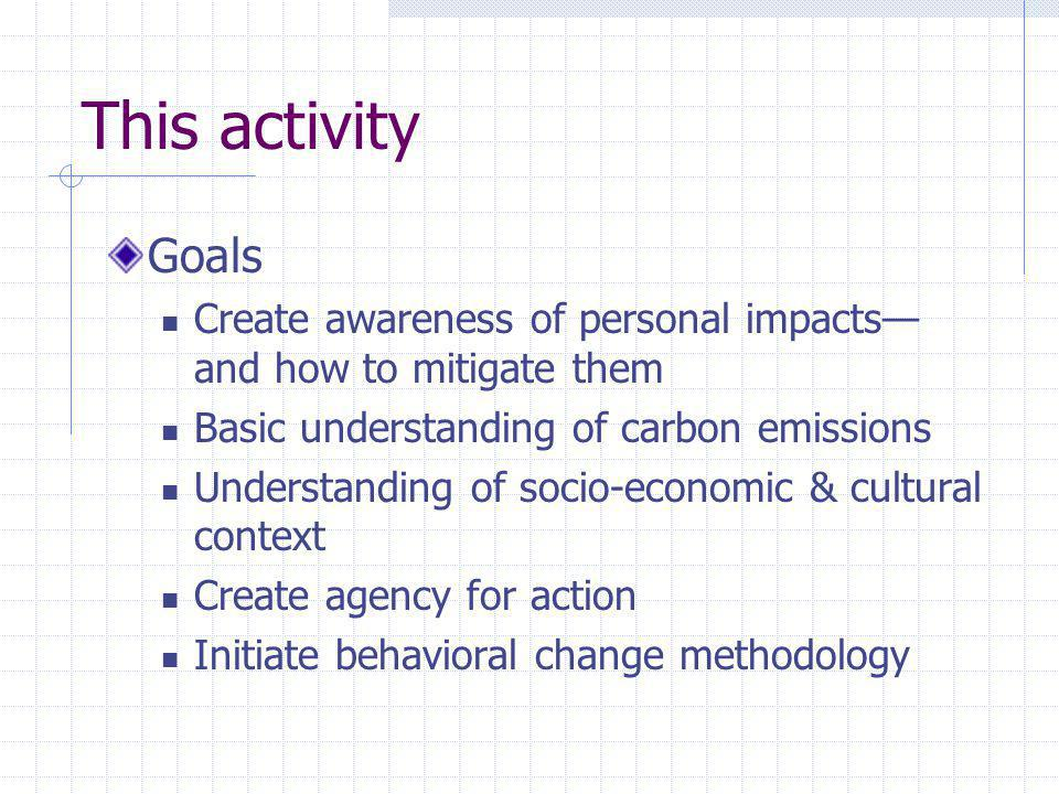 This activity Goals Create awareness of personal impacts and how to mitigate them Basic understanding of carbon emissions Understanding of socio-economic & cultural context Create agency for action Initiate behavioral change methodology