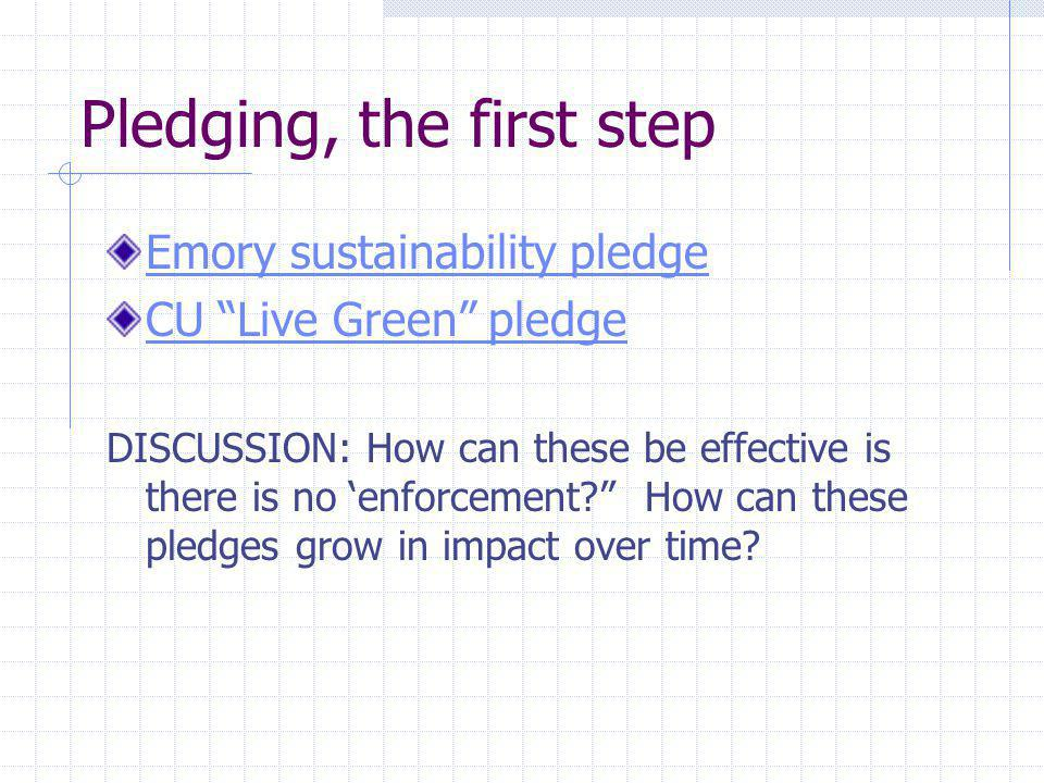 Pledging, the first step Emory sustainability pledge CU Live Green pledge DISCUSSION: How can these be effective is there is no enforcement.