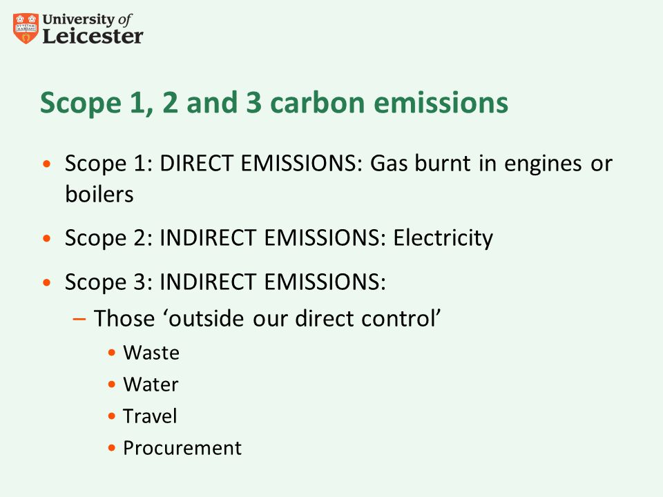 Scope 1: DIRECT EMISSIONS: Gas burnt in engines or boilers Scope 2: INDIRECT EMISSIONS: Electricity Scope 3: INDIRECT EMISSIONS: –Those outside our di