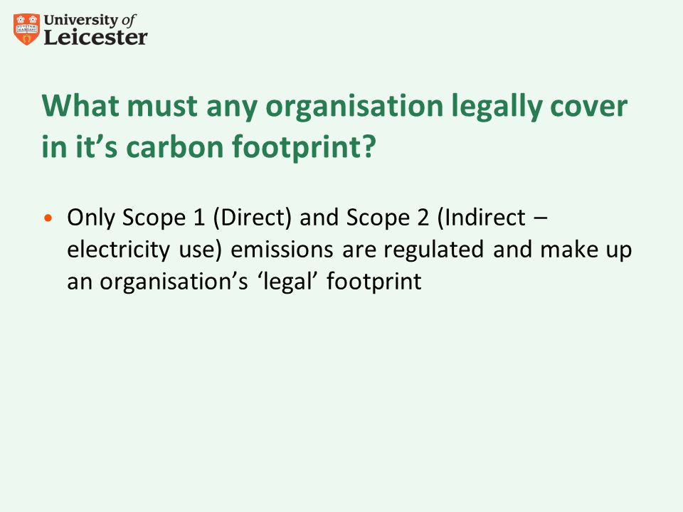 What must any organisation legally cover in its carbon footprint? Only Scope 1 (Direct) and Scope 2 (Indirect – electricity use) emissions are regulat