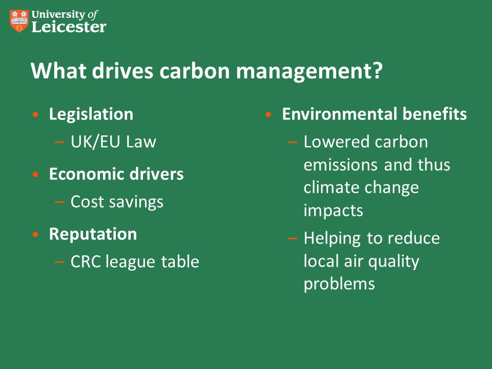 What drives carbon management? Legislation –UK/EU Law Economic drivers –Cost savings Reputation –CRC league table Environmental benefits –Lowered carb