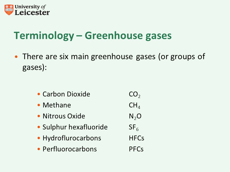 Terminology – Greenhouse gases There are six main greenhouse gases (or groups of gases): Carbon Dioxide CO 2 Methane CH 4 Nitrous OxideN 2 O Sulphur hexafluorideSF 6 HydroflurocarbonsHFCs Perfluorocarbons PFCs
