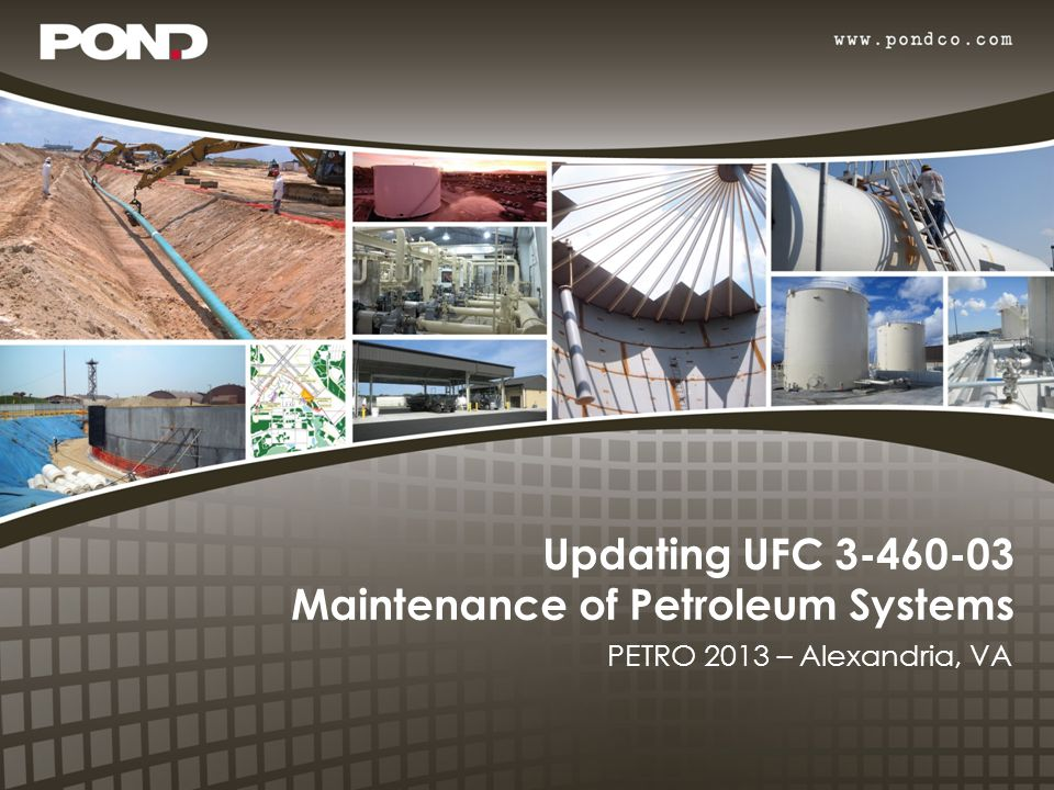 Unified Facilities Criteria – Provide planning, design, construction, sustainment, restoration, and modernization criteria – Intended to be Tri-Service guidance documents – Called guidance but are more often considered rules – UFCs cover a wide range of subjects including Cathodic Protection, Force Protection, Fire Protection, etc.