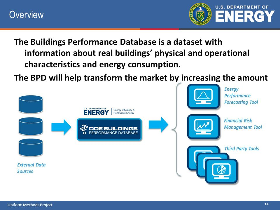 14 Uniform Methods Project Overview The Buildings Performance Database is a dataset with information about real buildings physical and operational cha
