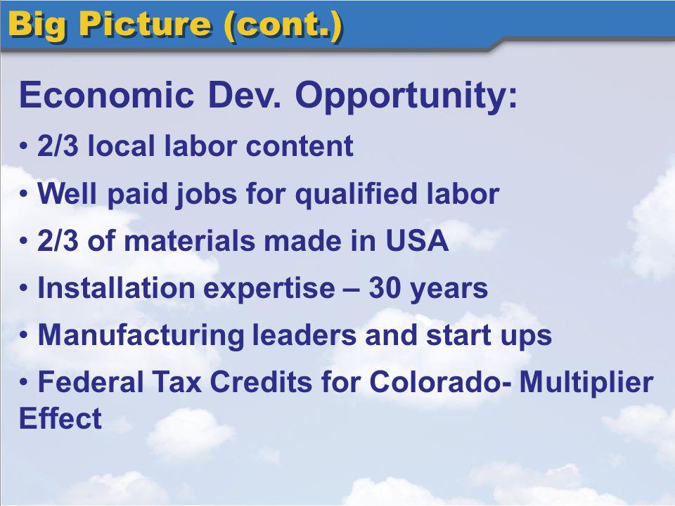 Big Picture (cont.) Economic Dev.
