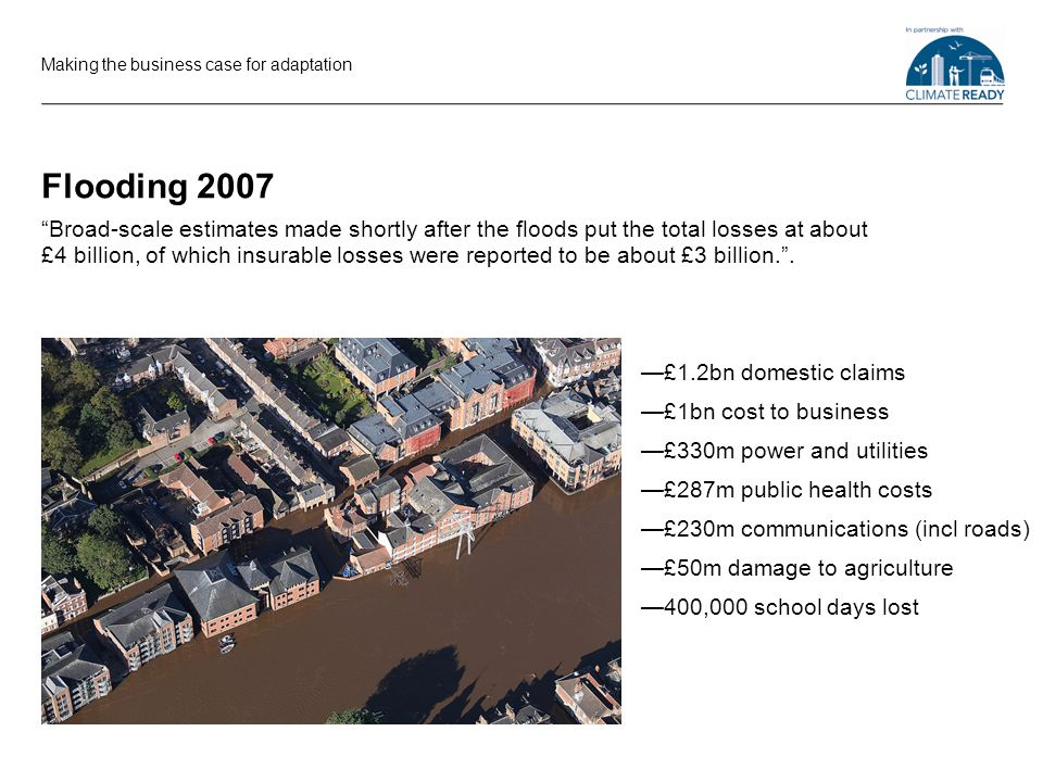 Flooding 2007 £1.2bn domestic claims £1bn cost to business £330m power and utilities £287m public health costs £230m communications (incl roads) £50m damage to agriculture 400,000 school days lost Making the business case for adaptation Broad-scale estimates made shortly after the floods put the total losses at about £4 billion, of which insurable losses were reported to be about £3 billion..