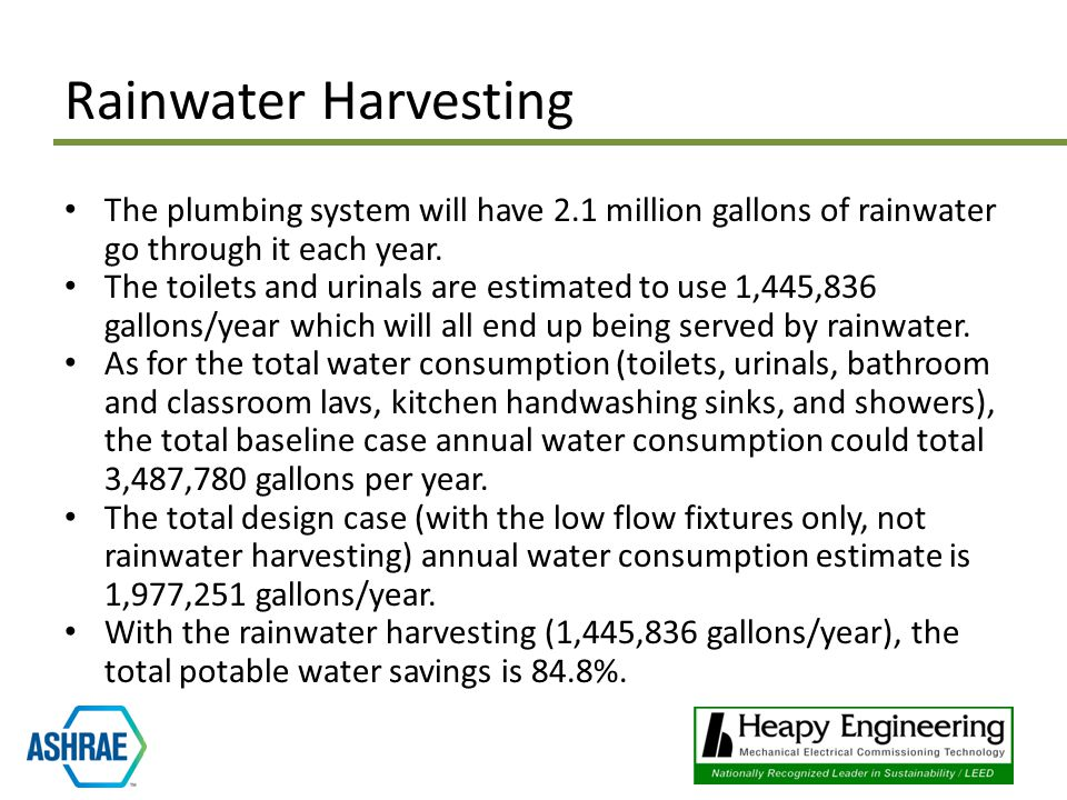 The plumbing system will have 2.1 million gallons of rainwater go through it each year.