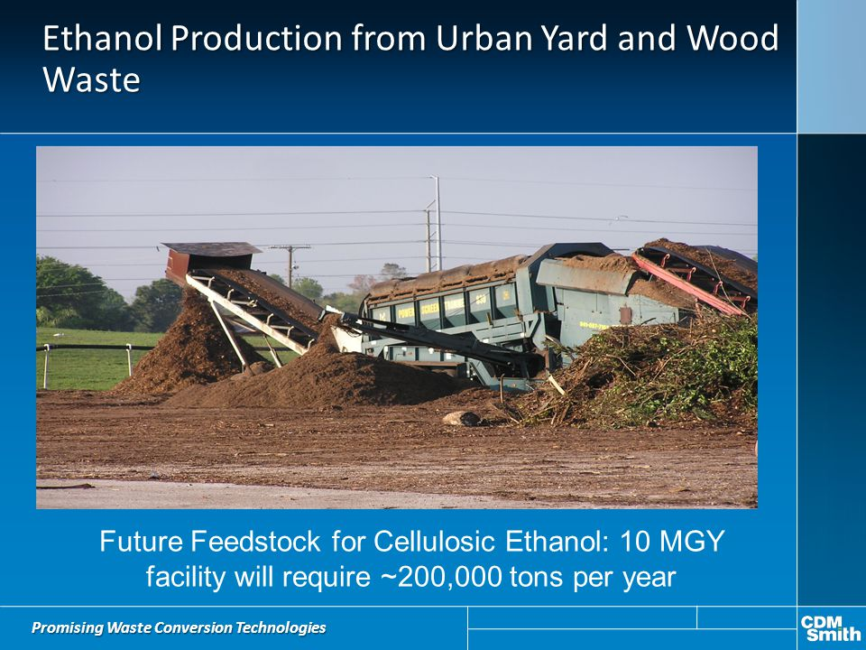 Ethanol Production from Urban Yard and Wood Waste Promising Waste Conversion Technologies Future Feedstock for Cellulosic Ethanol: 10 MGY facility wil