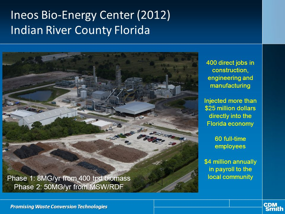 Ineos Bio-Energy Center (2012) Indian River County Florida 400 direct jobs in construction, engineering and manufacturing Injected more than $25 milli