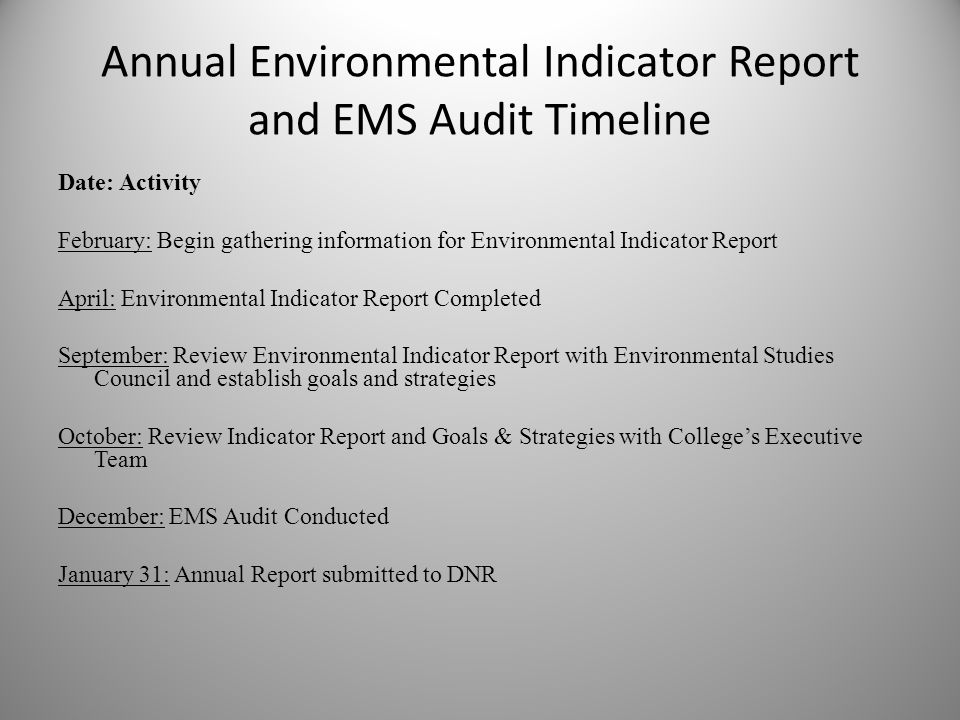 Annual Environmental Indicator Report and EMS Audit Timeline Date: Activity February: Begin gathering information for Environmental Indicator Report April: Environmental Indicator Report Completed September: Review Environmental Indicator Report with Environmental Studies Council and establish goals and strategies October: Review Indicator Report and Goals & Strategies with Colleges Executive Team December: EMS Audit Conducted January 31: Annual Report submitted to DNR