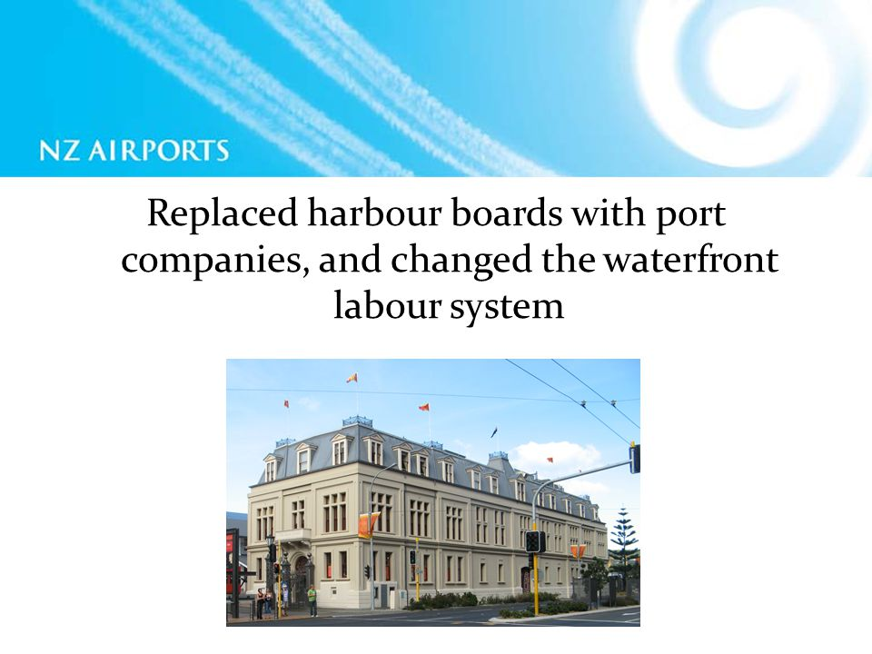 Replaced harbour boards with port companies, and changed the waterfront labour system